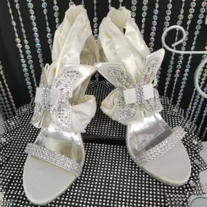 Ivory Satin High Heel Sandals with Butterfly